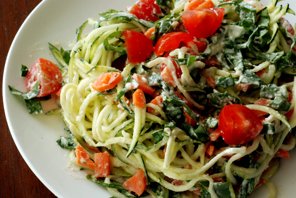 Raw alfredo sauce with basil cherry tomatoes and zucchini noodles this forumfinder Image collections
