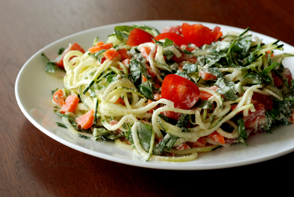Raw alfredo sauce with basil cherry tomatoes and zucchini noodles so forumfinder Gallery