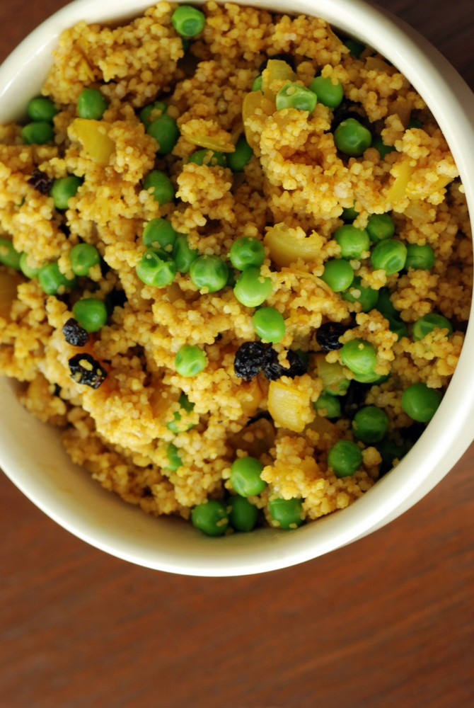 Curried Couscous Pilaf Salad with Peas and Currants