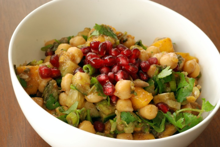 Warm Chickpea Salad with Mango, Pomegranate and Chaat Masala