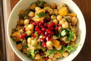 Chickpea Salad with Mango, Pomegranate and Chaat Masala