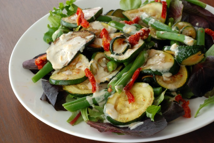 Tahini-Dressed Zucchini and Green Bean Salad with Sun-Dried Tomatoes