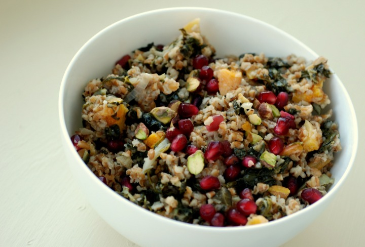 Bulgur Pilaf Salad with Pomegranate, Dried Apricots, Pistachios and Swiss Chard