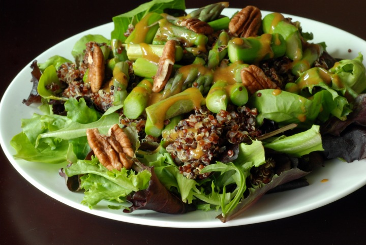 Asparagus Pecan Quinoa Salad with a Maple-Mustard Dressing