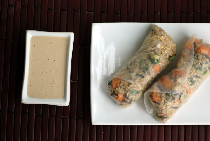 Quinoa Wraps with Sweet Potato, Tofu Feta and a Sweet Tahini Dipping Sauce