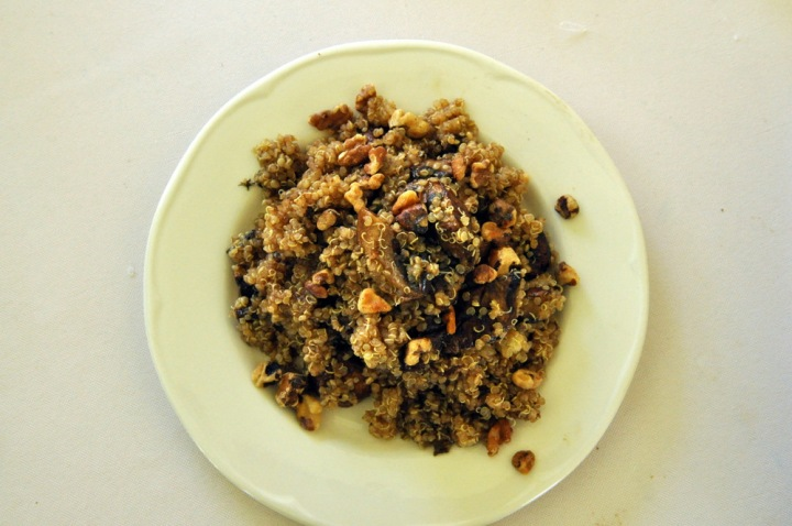 Grilled Balsamic Mushroom and Quinoa Salad with Walnuts