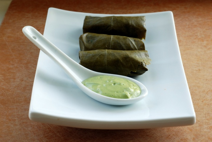 Raw Dolmas with a Cilantro-Tahini Sauce