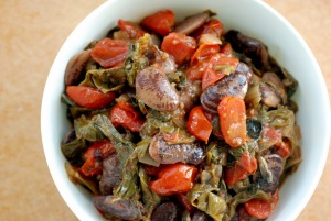 Greek Stewed Swiss Chard With Tomatoes, Mint and Lima Beans