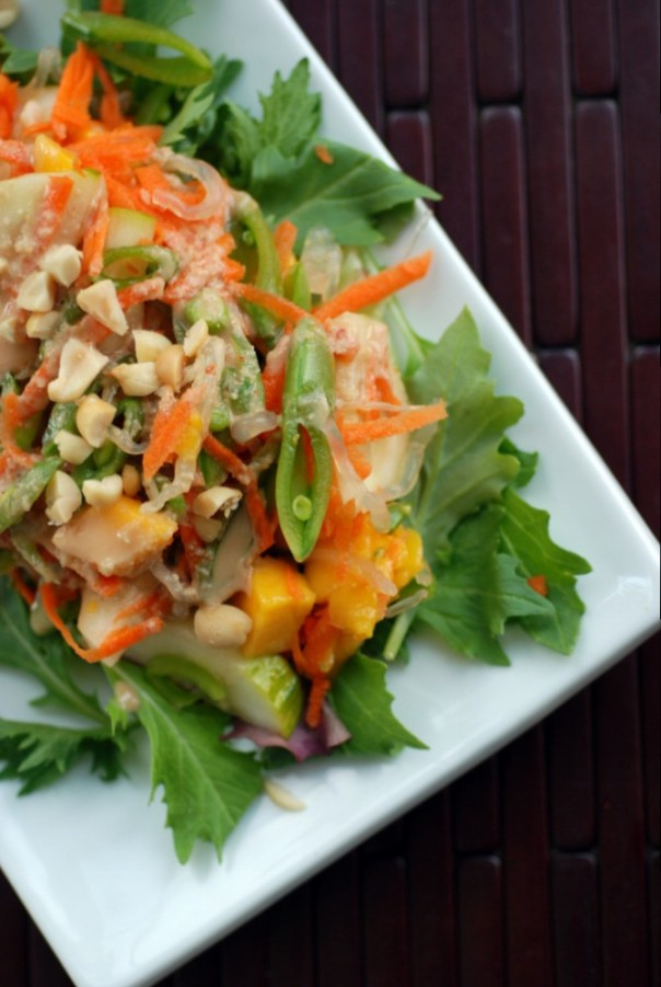 Mango and Snap Pea Noodle Salad with a Tangy Peanut Dressing