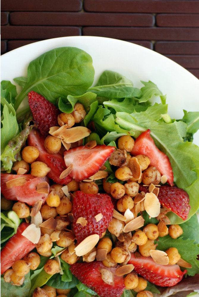 Strawberry and Roasted Chickpea Salad with a Cinnamon Vinaigrette