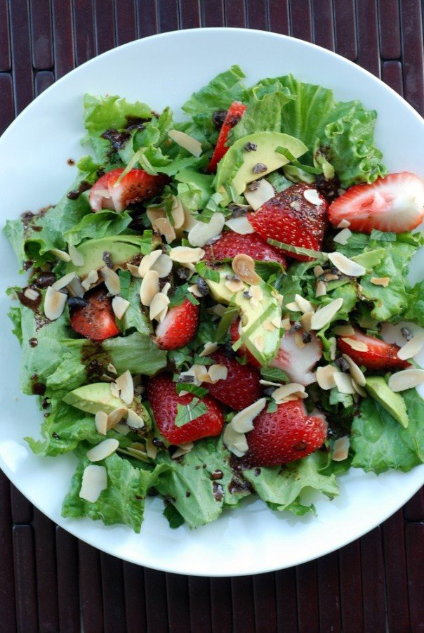 Strawberry, Avocado and Mint Salad with a Chocolate Balsamic Vinaigrette