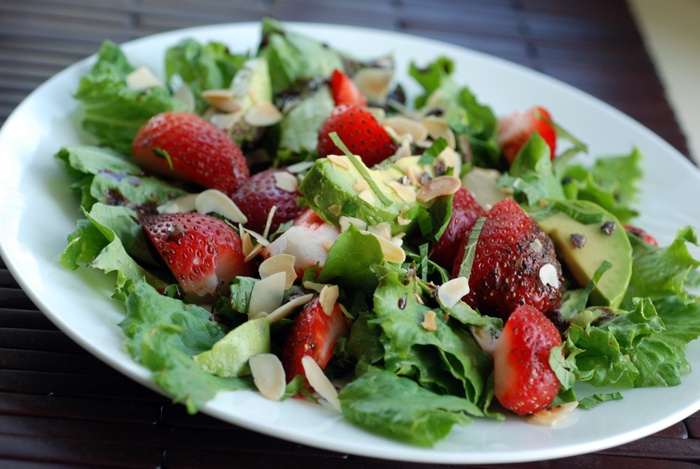 strawberry avocado and mint salad with a chocolate