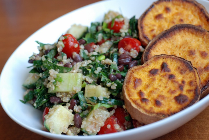 The Best Roasted Sweet Potatoes with Adzuki Bean and Quinoa Kale Salad