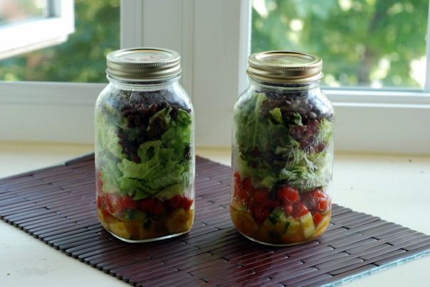 Salad in a Jar (and Topaz Dragon Ginger Dressing)