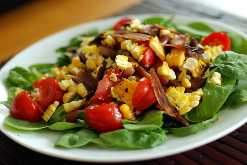 BLT Corn Pinto Bean Salad with Raw Eggplant Bacon | the taste space
