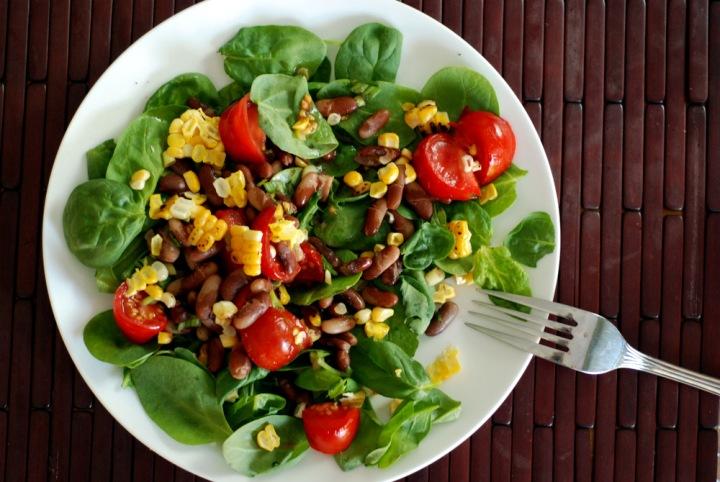 BLT Corn Pinto Bean Salad with Raw Eggplant Bacon