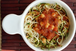 Zucchini Spaghetti with Chickpeas and a Roasted Tomato-Peach Sauce