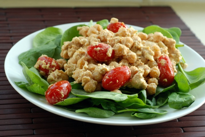 Chickpea and Tofu Tahini Scramble Salad