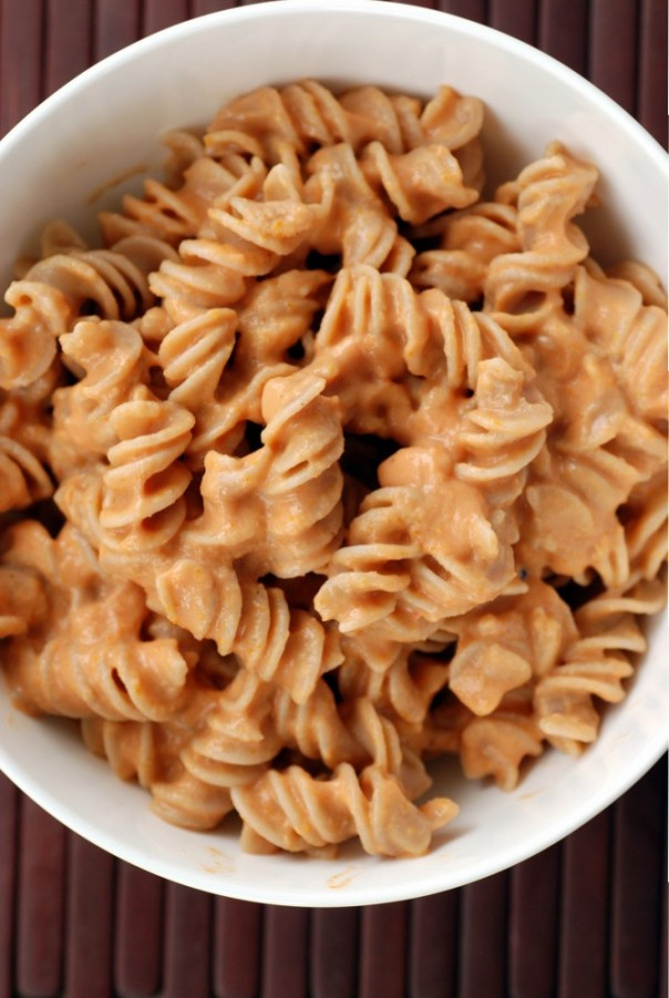 Red Lentil Fusilli with a Zippy Vegan Rose Sauce