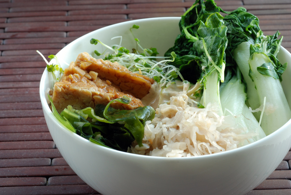 ... Veggie and Tempeh Bowl with Miso Tahini Sauce (Aux Vivres Copy Cat