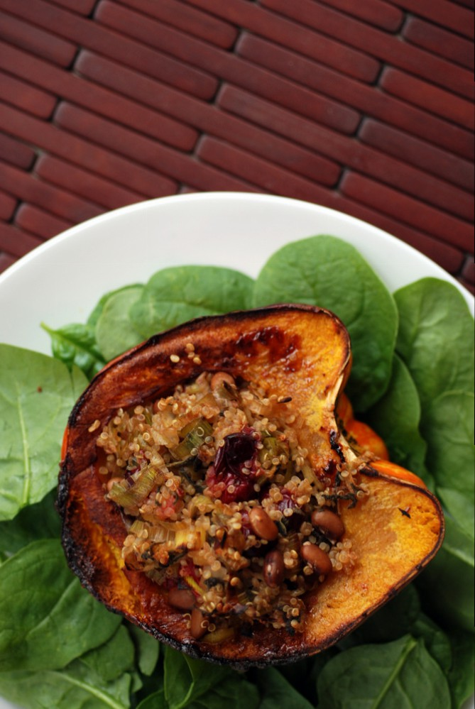 Carnival Squash Stuffed with Cranberry Maple Quinoa and Beans