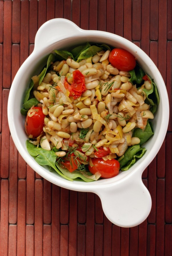 Flageolet Bean Salad with Roasted Tomatoes and Leeks