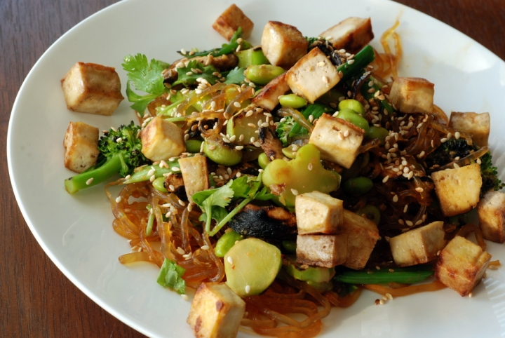 Asian Veggie Noodle Bowl with a Miso-Ginger Sauce