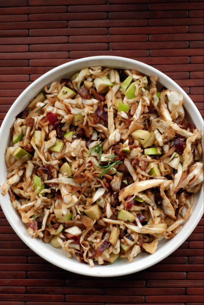 Warm Balsamic Rosemary Cabbage Salad