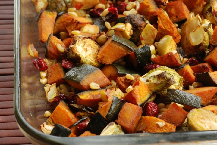 Roasted Balsamic Curry Fall Vegetables and Cranberries with Kamut