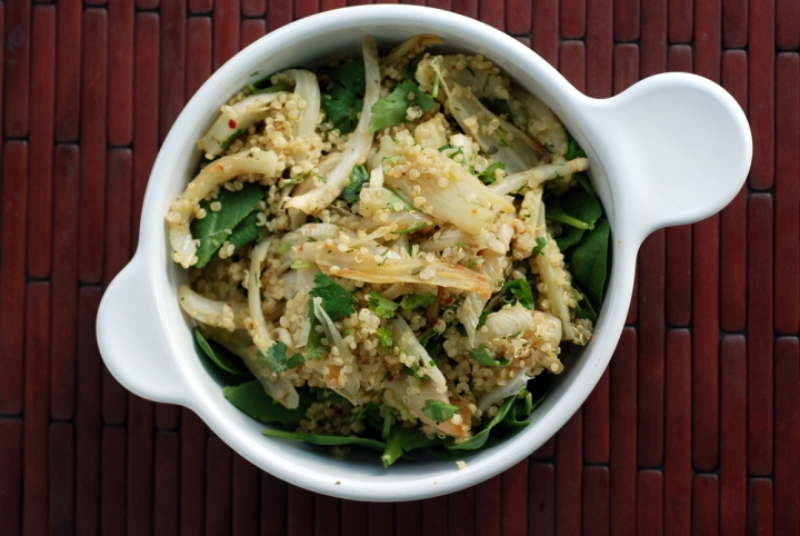 Caramelized Fennel and Quinoa Salad with Cilantro and Dill