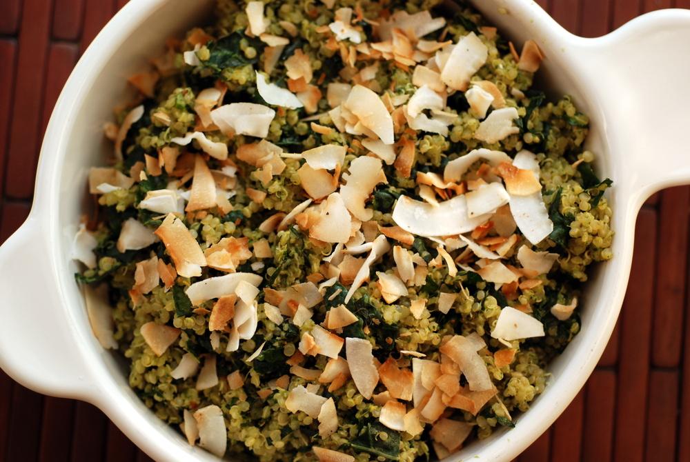 Coconut Quinoa and Kale Salad with a Tropical Cilantro-Cashew Pesto