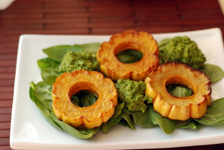 Hazelnut-Roasted Delicata Squash with Hazelnut-Sage Pesto