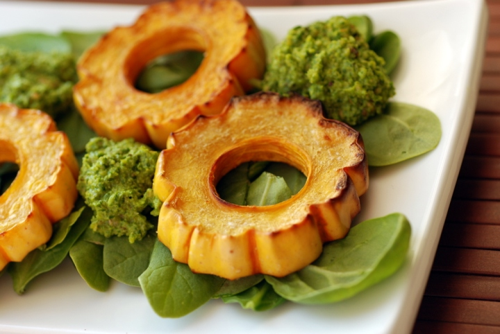 Hazelnut-Roasted Delicata Squash with Hazelnut-Sage Pesto