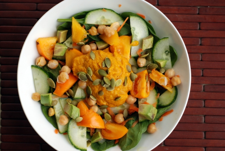 Spinach Salad with Carrot Ginger Miso Dressing and Pepitas