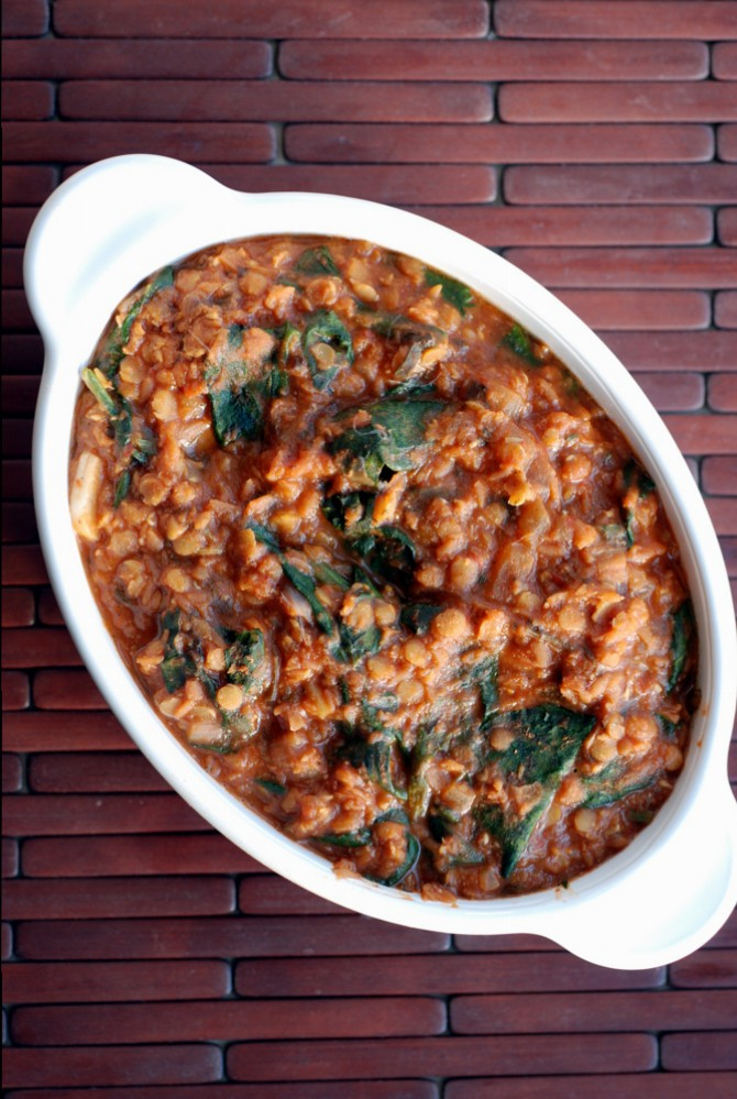 Red Lentil and Spinach Curry (Vegan Tikka Masala)
