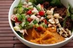 Baby Quinoa (Kaniwa) Bowl with Cranberry Jicama Salsa and Sweet Squash Puree