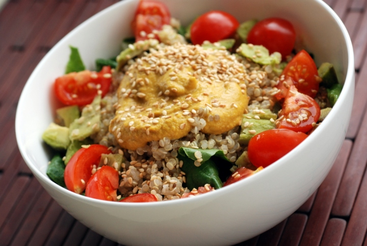 Tomato Avocado Quinoa Salad with a Carrot Ginger Sesame Dressing