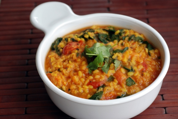 Yellow Moong Dal and Spinach Curry