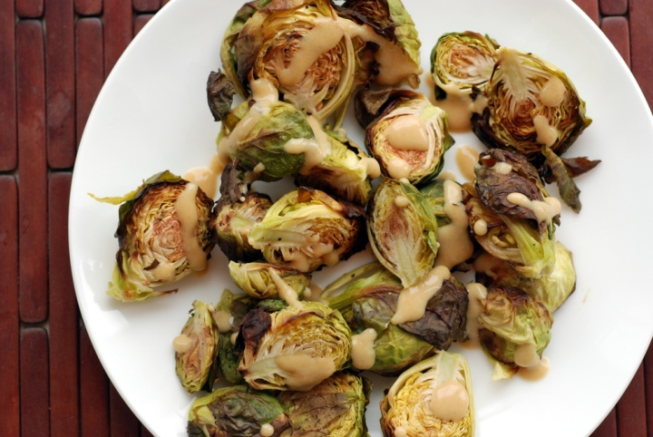 roasted brussels sprouts and a creamy balsamic miso dressing