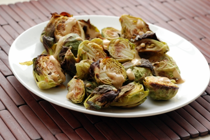Roasted Brussels Sprouts with Creamy Balsamic Miso Dressing