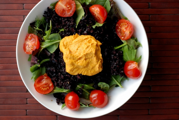 Roasted Carrot Hummus Salad with Black Rice, Tomatoes and Dill