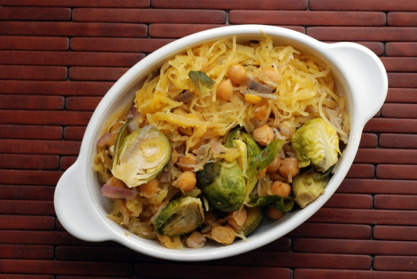 Spaghetti Squash with Roasted Brussels Sprouts and Chickpeas