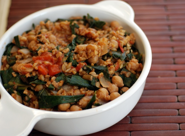 Turkish Freekeh Pilaf with Chickpeas and Wild Greens