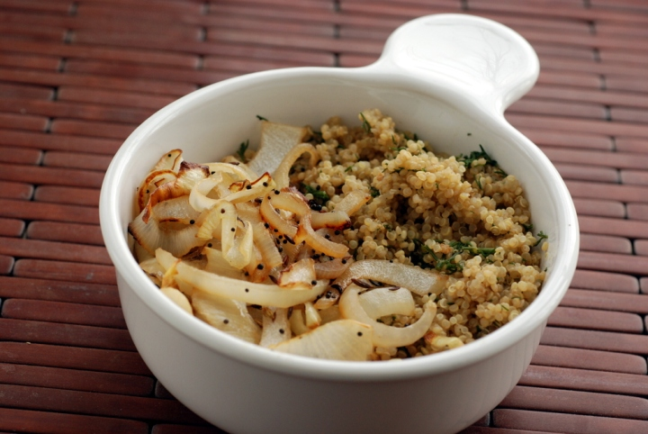 Indian-Spiced Baked Onions with Cumin-Dill Quinoa