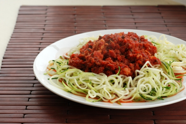 The Great Vegetable Bolognese Sauce with Zucchini Spaghetti