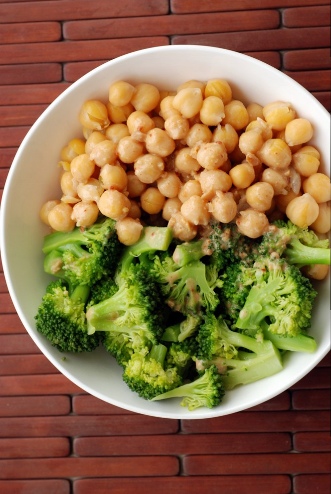 Chickpea and Broccoli Bowl with Peanut-Miso Sauce