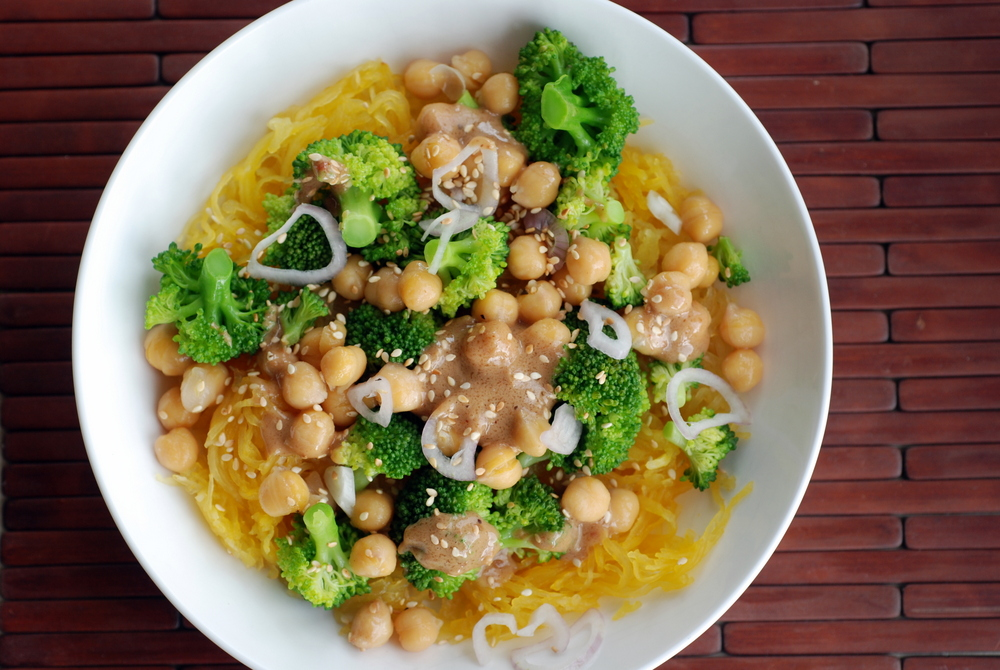Broccoli and Spaghetti Squash Noodle Bowl with a Peanut-Miso-Sesame ...