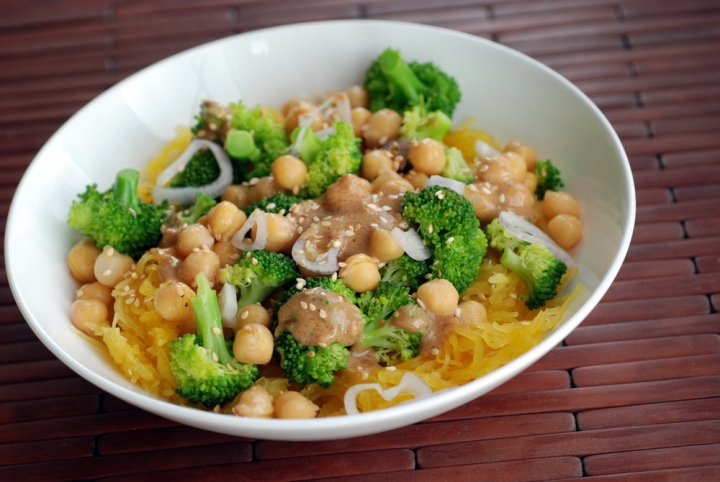 Broccoli and Spaghetti Squash Noodle Bowl with a Peanut-Miso Sauce