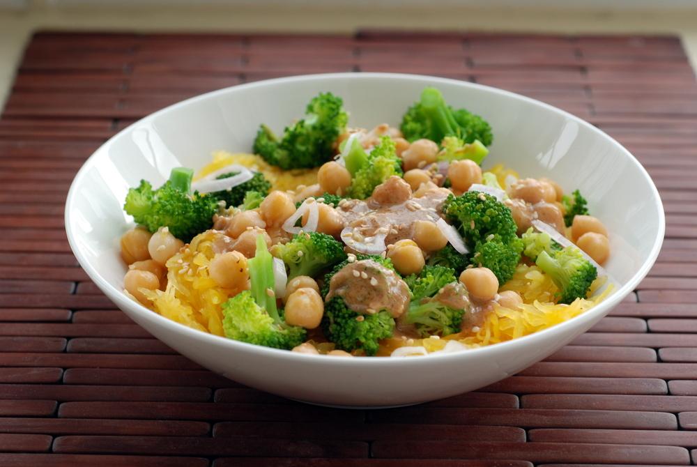 Broccoli and Spaghetti Squash Noodle Bowl with a Peanut-Miso-Sesame ...