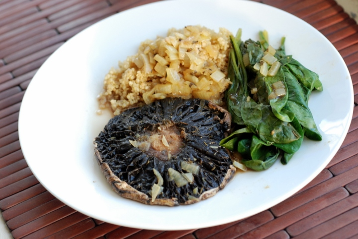 Braised Portobello Steaks and Spinach with a Balsamic Sauce